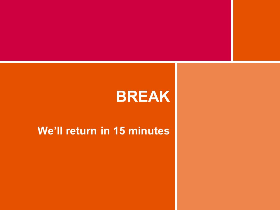 BREAK Well return in 15 minutes