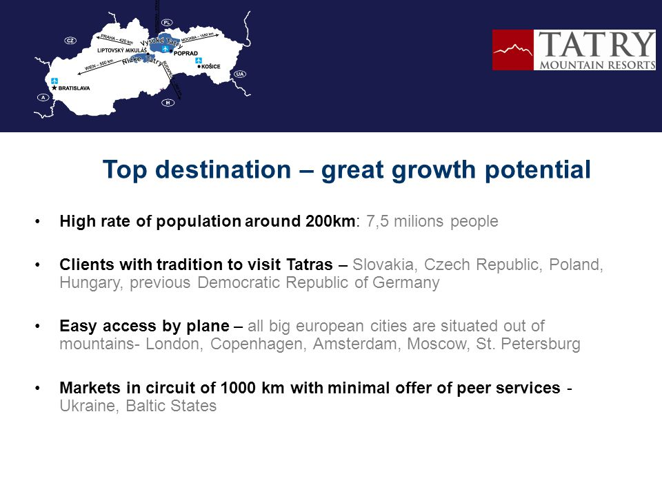 High rate of population around 200km: 7,5 milions people Clients with tradition to visit Tatras – Slovakia, Czech Republic, Poland, Hungary, previous