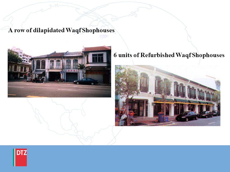 6 units of Refurbished Waqf Shophouses A row of dilapidated Waqf Shophouses