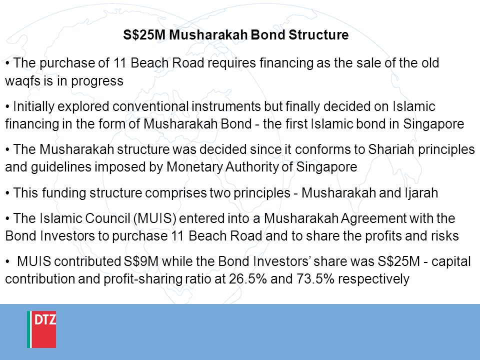 S$25M Musharakah Bond Structure The purchase of 11 Beach Road requires financing as the sale of the old waqfs is in progress Initially explored conven