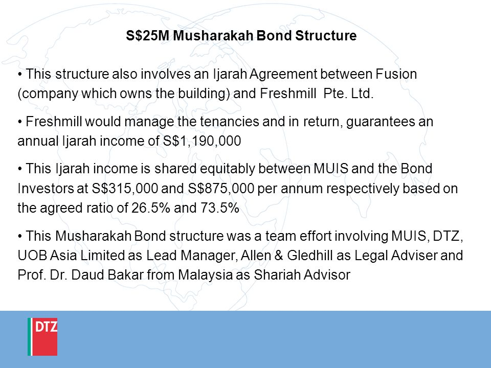 S$25M Musharakah Bond Structure This structure also involves an Ijarah Agreement between Fusion (company which owns the building) and Freshmill Pte. L