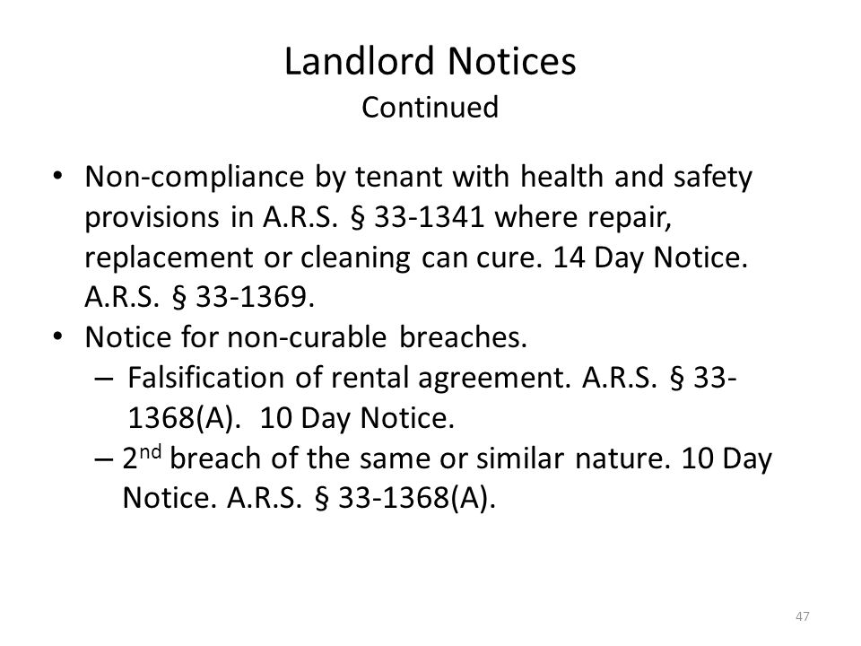 Landlord Notices Continued Non-compliance by tenant with health and safety provisions in A.R.S. § 33-1341 where repair, replacement or cleaning can cu