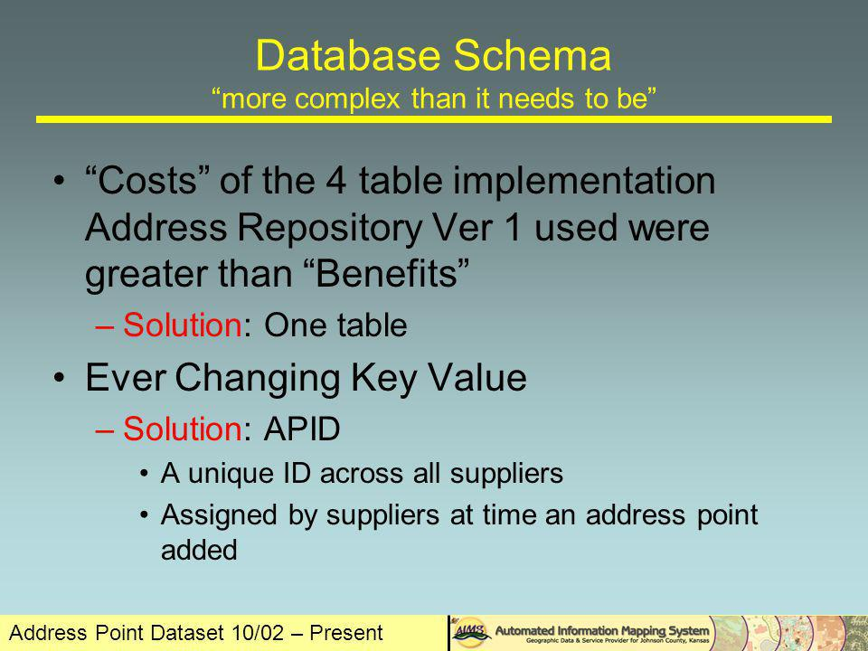 Database Schema more complex than it needs to be Costs of the 4 table implementation Address Repository Ver 1 used were greater than Benefits –Solution: One table Ever Changing Key Value –Solution: APID A unique ID across all suppliers Assigned by suppliers at time an address point added