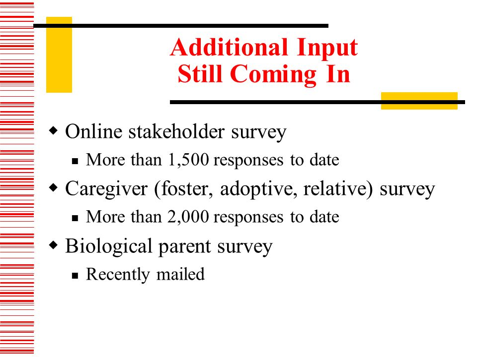 Additional Input Still Coming In Online stakeholder survey More than 1,500 responses to date Caregiver (foster, adoptive, relative) survey More than 2,000 responses to date Biological parent survey Recently mailed