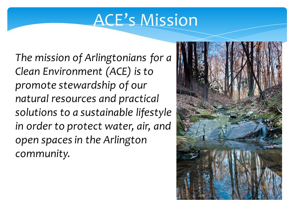 ACEs Mission The mission of Arlingtonians for a Clean Environment (ACE) is to promote stewardship of our natural resources and practical solutions to