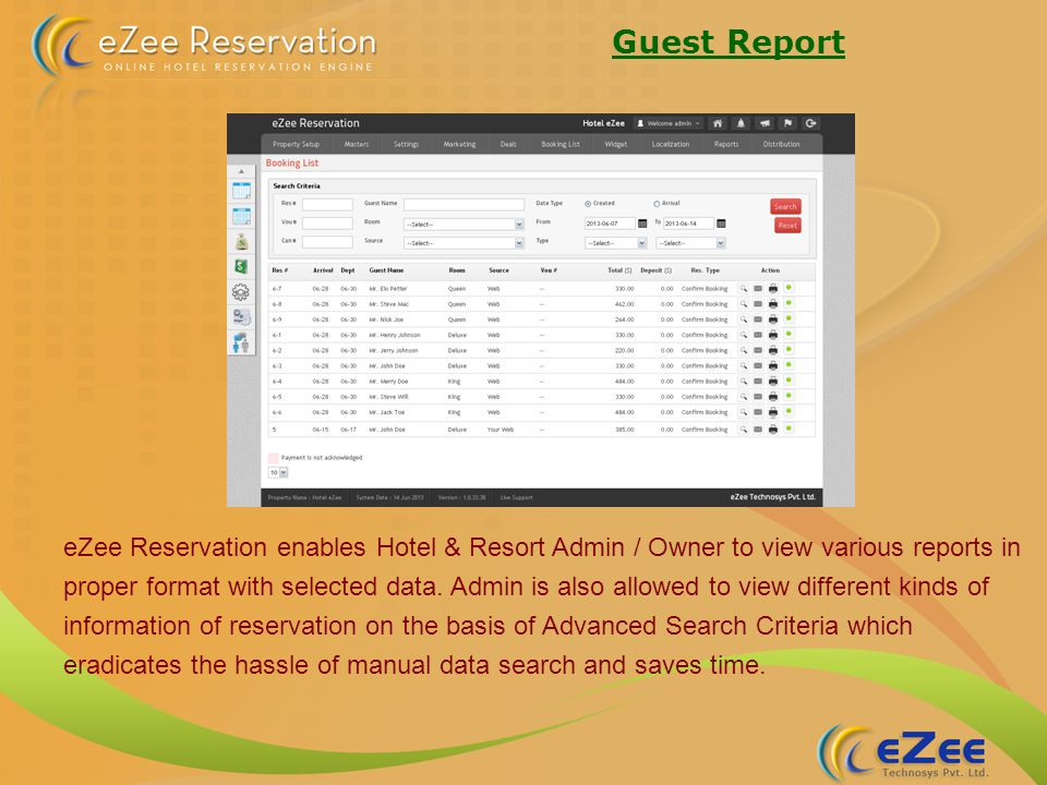Guest Report eZee Reservation enables Hotel & Resort Admin / Owner to view various reports in proper format with selected data.