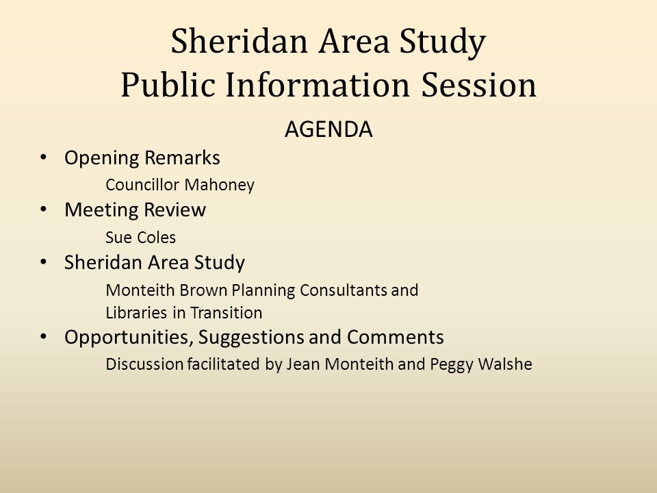 Sheridan Community PURPOSE OF THE PROJECT: Analyze and examine the needs of the youth and broader community in the area currently serviced by Sheridan Library ; Determine if we can reduce any duplication of service between this branch and nearby locations; Determine if there is a better way to deliver services for both library/recreational/social needs of this neighbourhood through an alternative service delivery model.