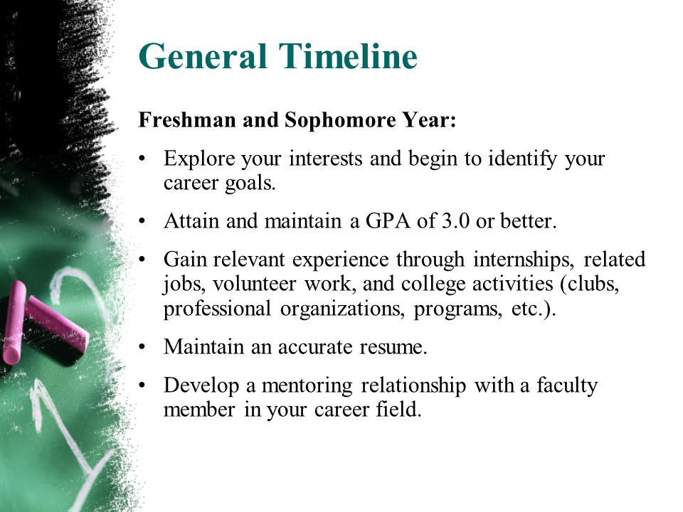 General Timeline Freshman and Sophomore Year: Explore your interests and begin to identify your career goals.