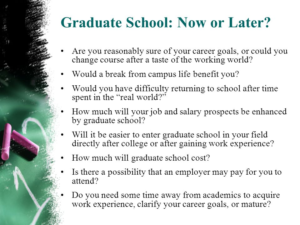 Graduate School: Now or Later.
