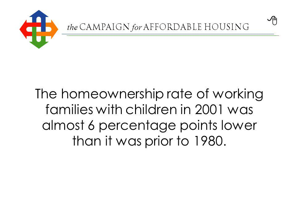 the Campaign for Affordable Housing Homeownership Rates All Households and Working Families 1978–2001 Source: Working Families with Children: A Closer Look at Homeownership Trends, published May 2004 by The Center for Housing Policy, the research affiliate of the National Housing Conference.