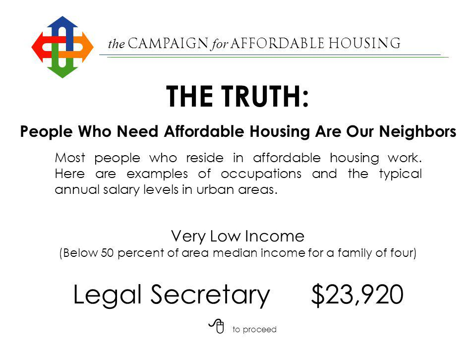 the Campaign for Affordable Housing THE TRUTH: SOURCES: San Franciscan Bay Guardian (10/7/98); Nonprofit Housing Association of Northern California ; Good Neighbors Affordable Family Counseling; Jones, Pettus & Pyatok (1997); Annual Planning Information, Contra Costa County (1993); Marin Independent Journal (2/23/97); City of San Jose Memorandum (1/3/95).
