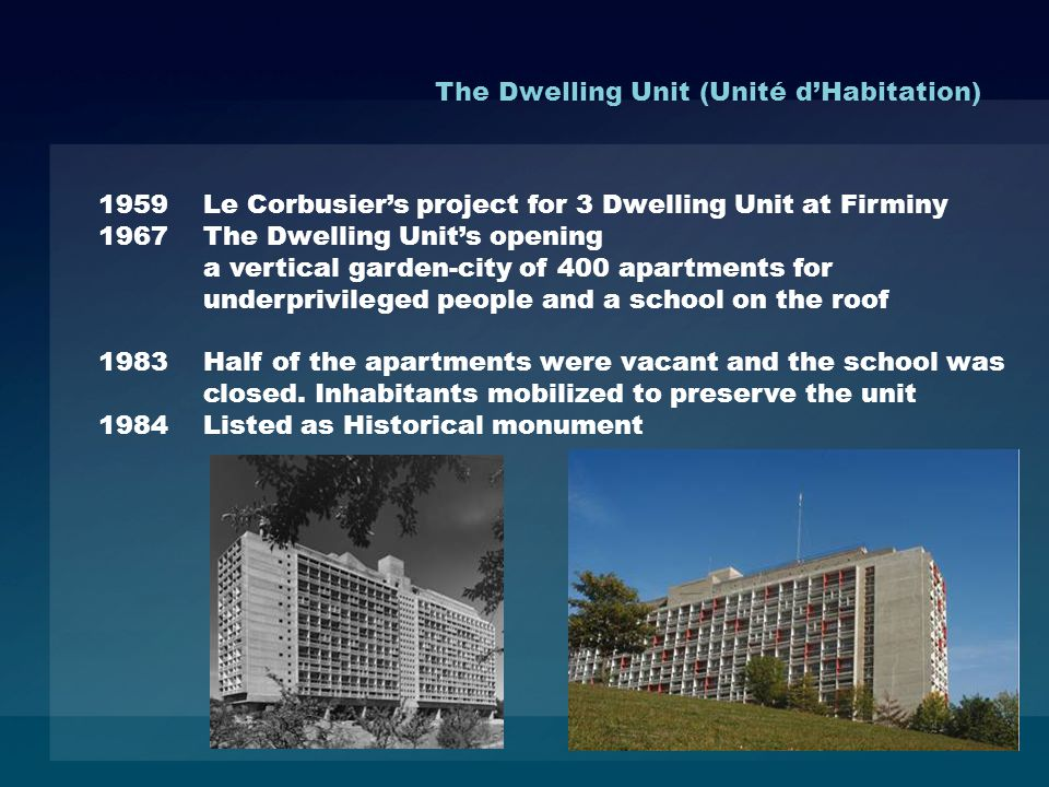 1959 Le Corbusiers project for 3 Dwelling Unit at Firminy 1967 The Dwelling Units opening a vertical garden-city of 400 apartments for underprivileged people and a school on the roof 1983 Half of the apartments were vacant and the school was closed.