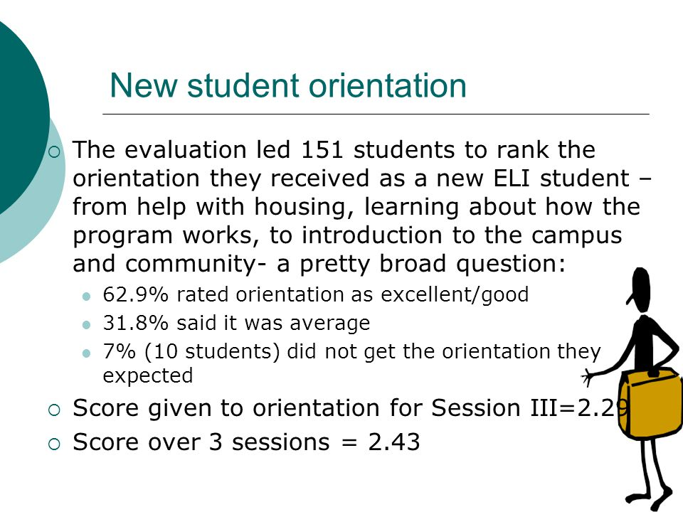 New student orientation The evaluation led 151 students to rank the orientation they received as a new ELI student – from help with housing, learning