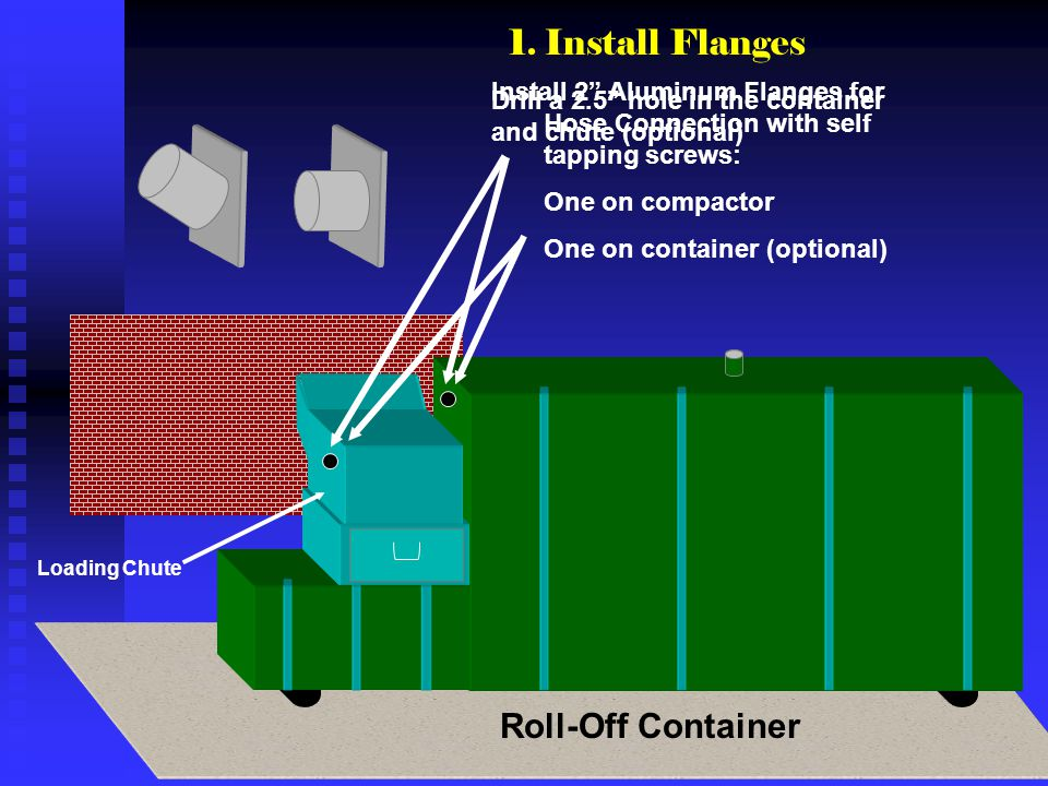 Install 2 Aluminum Flanges for Hose Connection with self tapping screws: One on compactor One on container (optional) Loading Chute Roll-Off Container