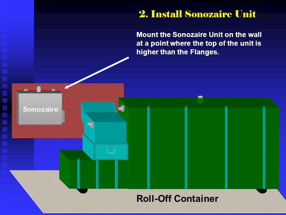 Sonozaire Mount the Sonozaire Unit on the wall at a point where the top of the unit is higher than the Flanges. 2. Install Sonozaire Unit Roll-Off Con
