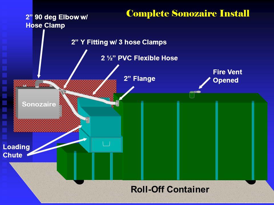 Sonozaire Fire Vent Opened 2 Flange 2 ½ PVC Flexible Hose 2 Y Fitting w/ 3 hose Clamps 2 90 deg Elbow w/ Hose Clamp Loading Chute Complete Sonozaire I