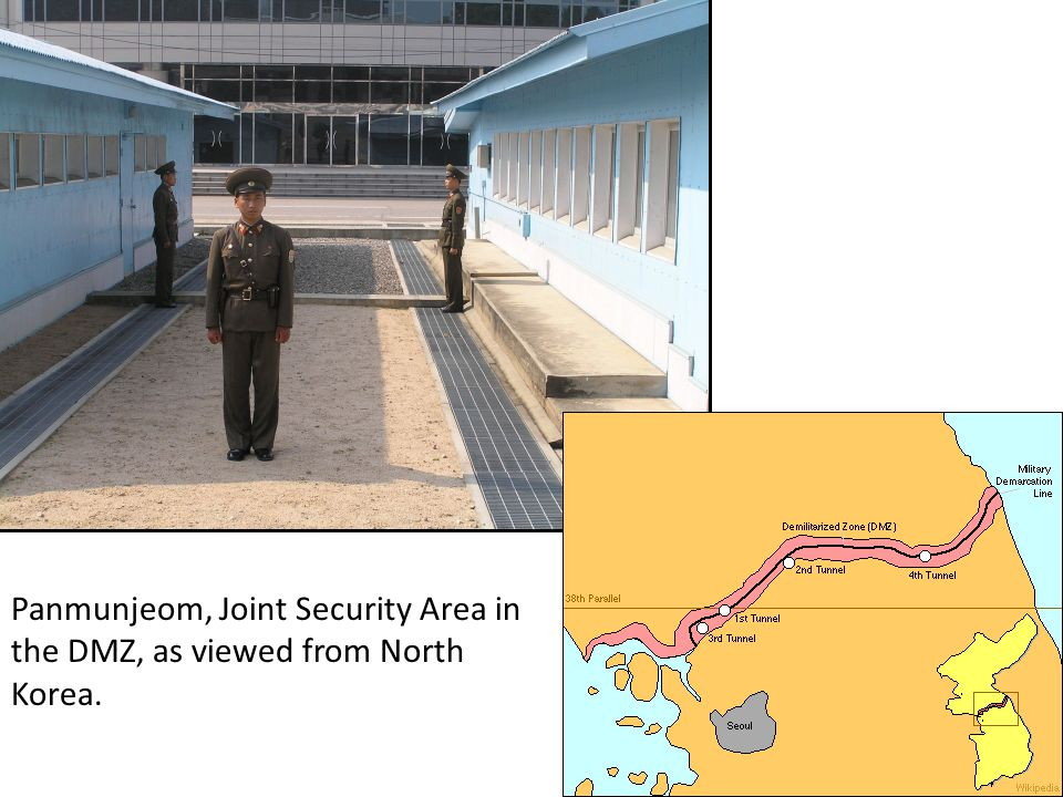 Panmunjeom, Joint Security Area in the DMZ, as viewed from North Korea.