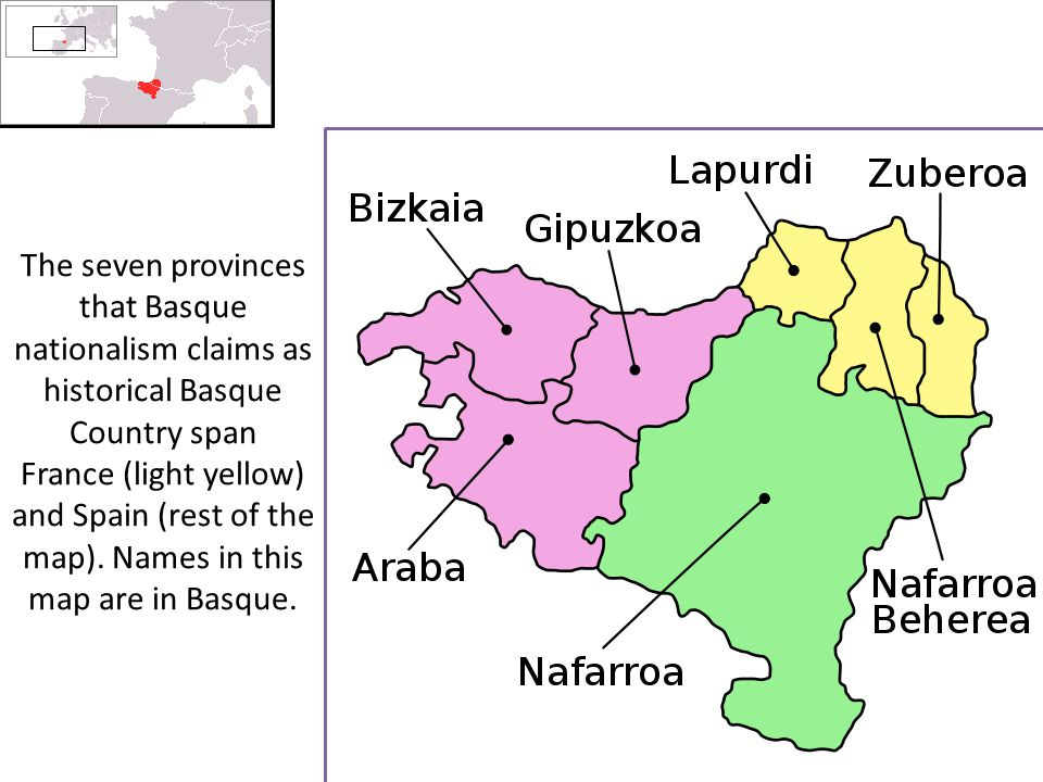 The seven provinces that Basque nationalism claims as historical Basque Country span France (light yellow) and Spain (rest of the map).