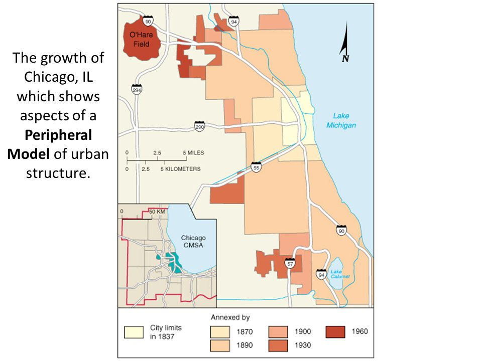 The growth of Chicago, IL which shows aspects of a Peripheral Model of urban structure.