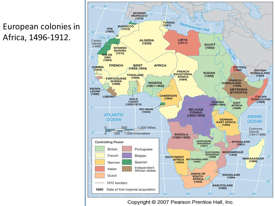 European colonies in Africa, 1496-1912.