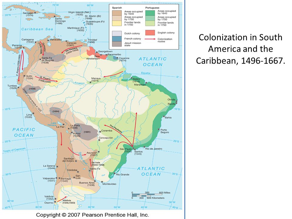 Colonization in South America and the Caribbean, 1496-1667.