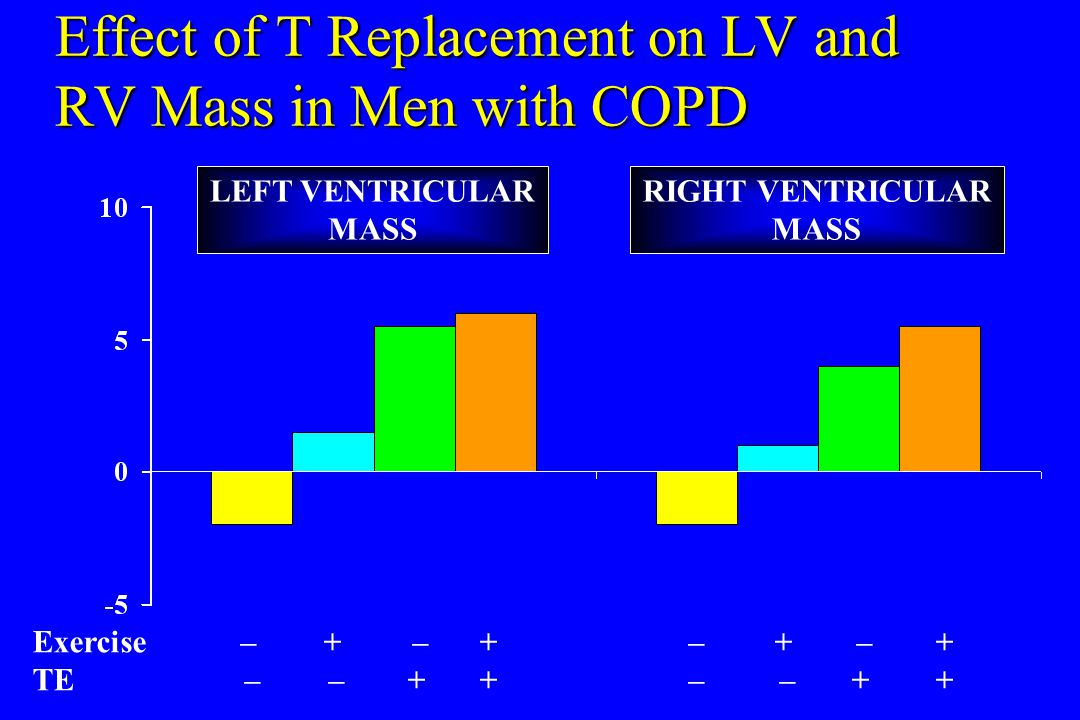 Effect of T Replacement on LV and RV Mass in Men with COPD LEFT VENTRICULAR MASS RIGHT VENTRICULAR MASS Exercise–+ –+ –+ –+ TE – –++ – –++
