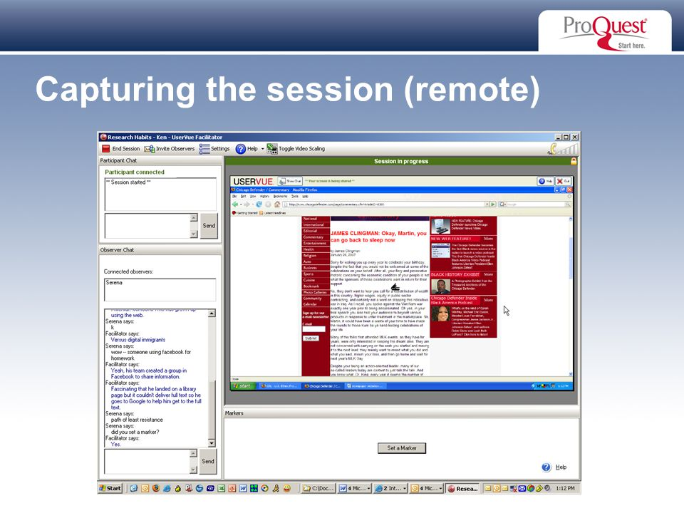 Proprietary and Confidential ProQuest Information & Learning Capturing the session (remote)