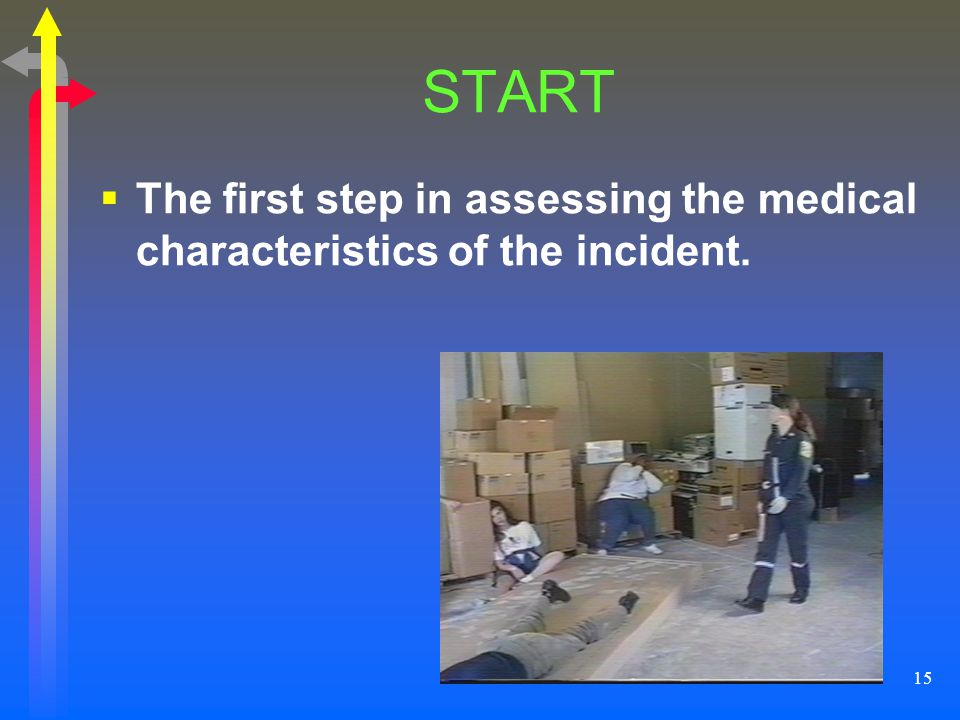 15 START The first step in assessing the medical characteristics of the incident.
