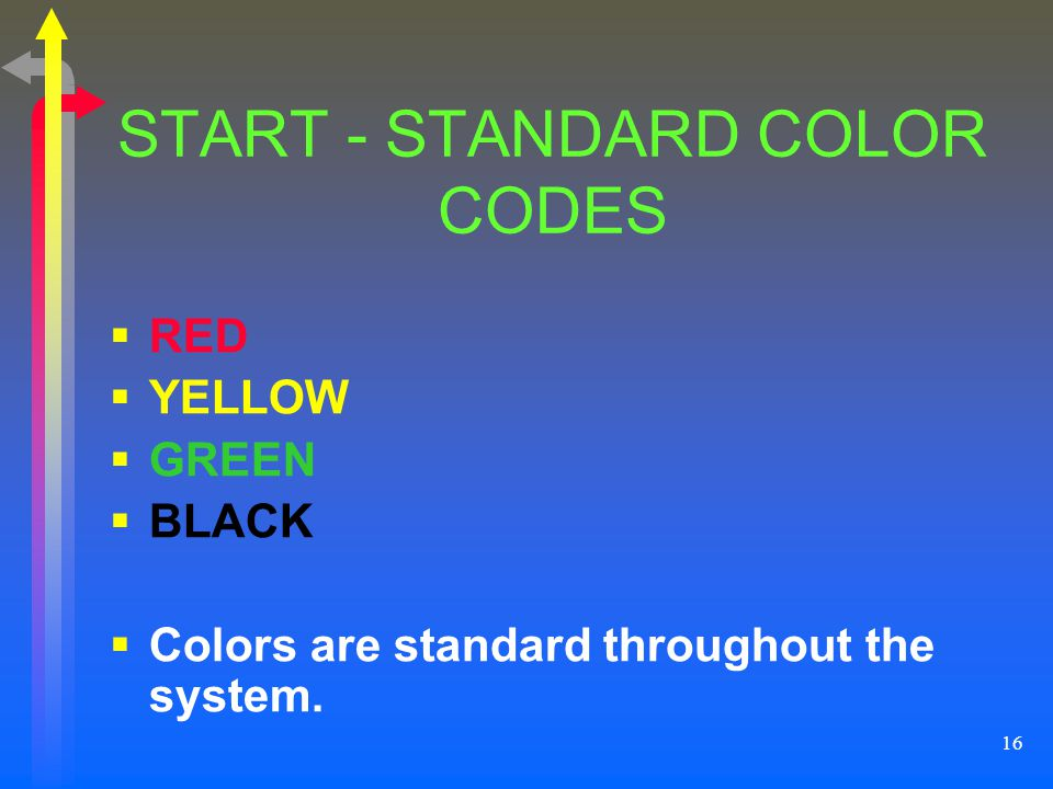 16 START - STANDARD COLOR CODES RED YELLOW GREEN BLACK Colors are standard throughout the system.