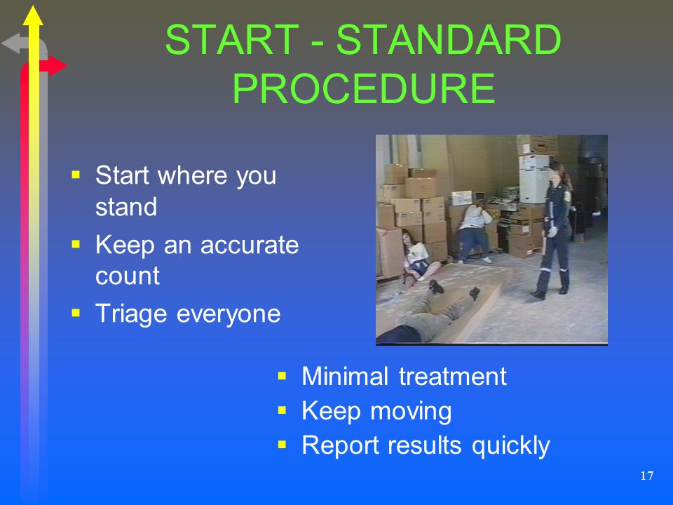 17 START - STANDARD PROCEDURE Start where you stand Keep an accurate count Triage everyone Minimal treatment Keep moving Report results quickly