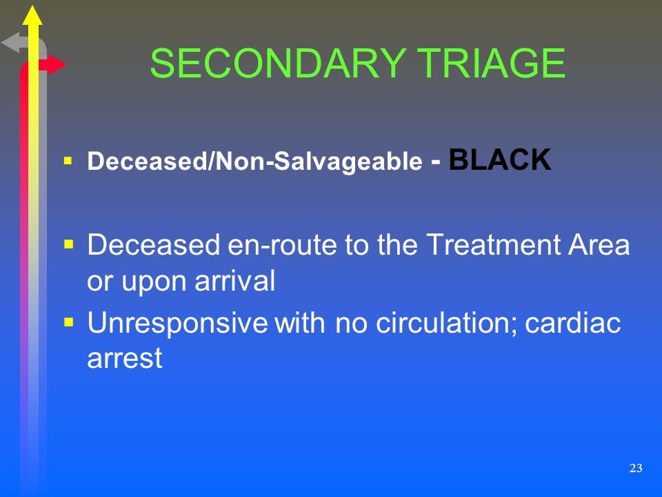 23 SECONDARY TRIAGE Deceased/Non-Salvageable - BLACK Deceased en-route to the Treatment Area or upon arrival Unresponsive with no circulation; cardiac