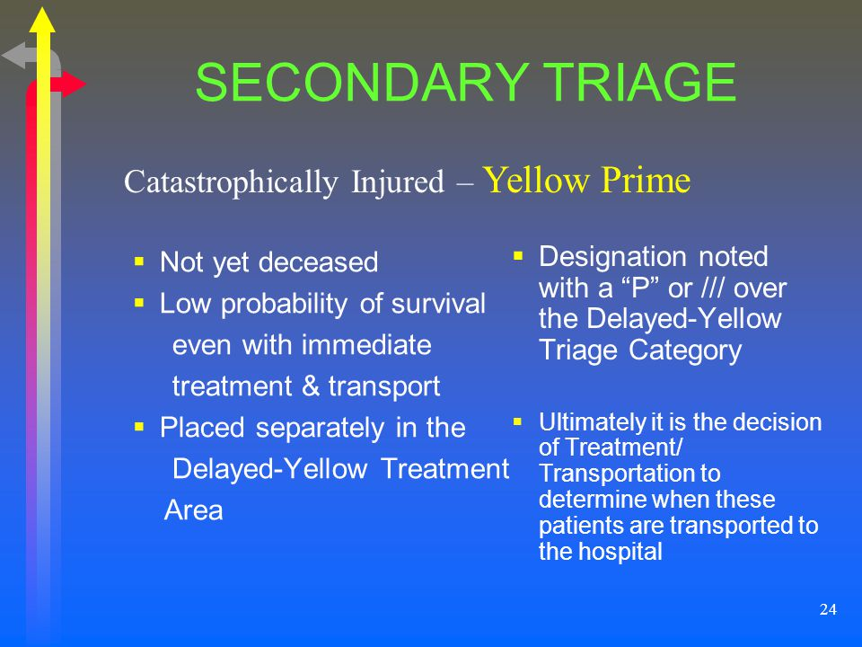 24 SECONDARY TRIAGE Not yet deceased Low probability of survival even with immediate treatment & transport Placed separately in the Delayed-Yellow Tre