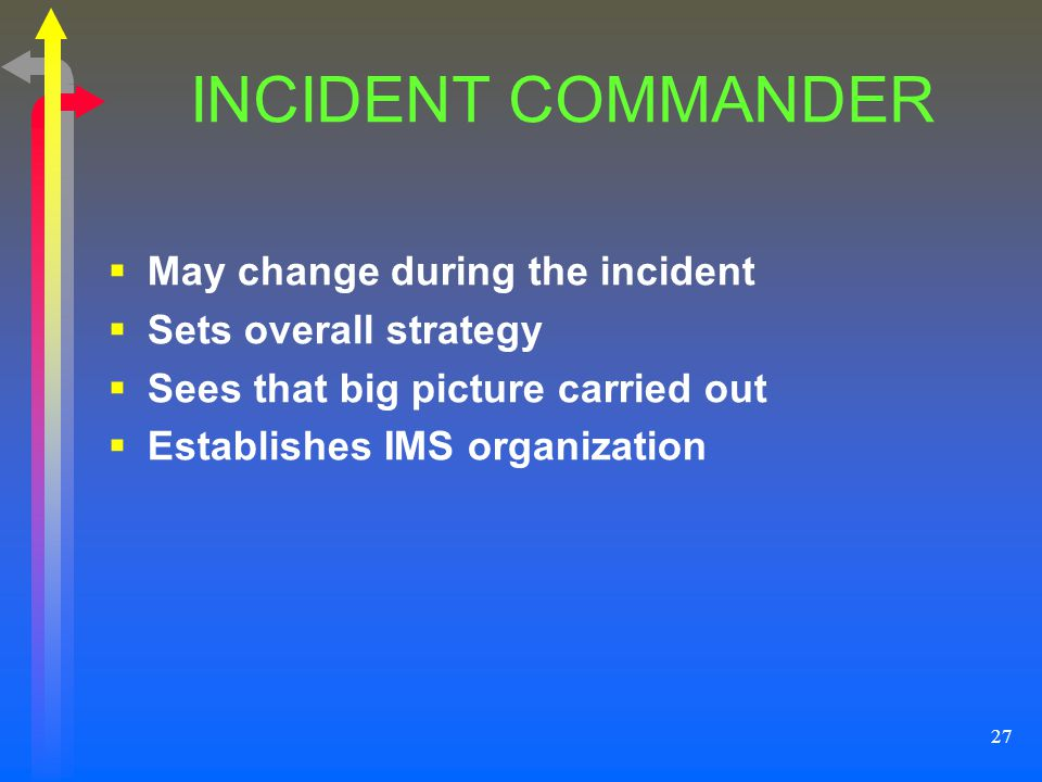 27 INCIDENT COMMANDER May change during the incident Sets overall strategy Sees that big picture carried out Establishes IMS organization