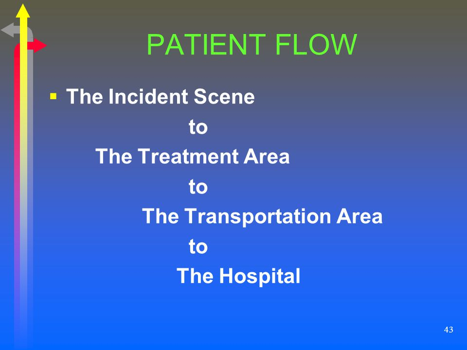 43 PATIENT FLOW The Incident Scene to The Treatment Area to The Transportation Area to The Hospital