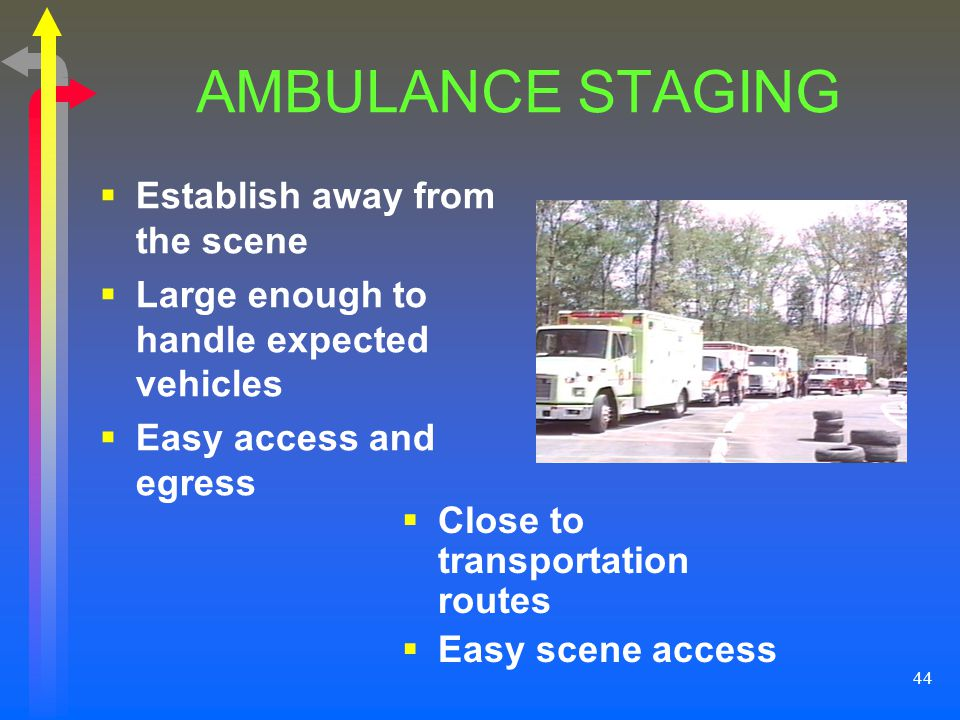 44 AMBULANCE STAGING Establish away from the scene Large enough to handle expected vehicles Easy access and egress Close to transportation routes Easy