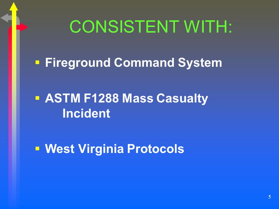 5 CONSISTENT WITH: Fireground Command System ASTM F1288 Mass Casualty Incident West Virginia Protocols