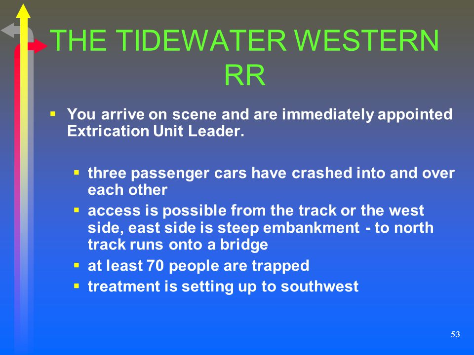 53 THE TIDEWATER WESTERN RR You arrive on scene and are immediately appointed Extrication Unit Leader. three passenger cars have crashed into and over