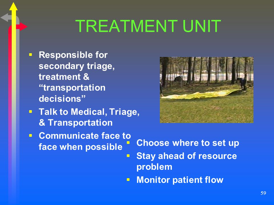 59 TREATMENT UNIT Responsible for secondary triage, treatment & transportation decisions Talk to Medical, Triage, & Transportation Communicate face to