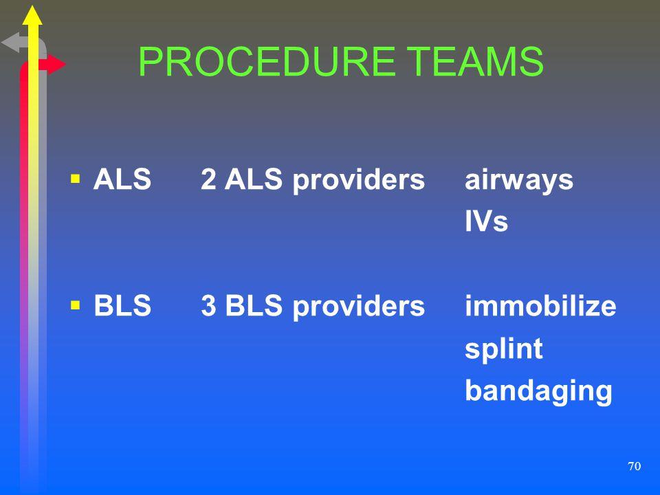 70 PROCEDURE TEAMS ALS2 ALS providersairways IVs BLS3 BLS providersimmobilize splint bandaging