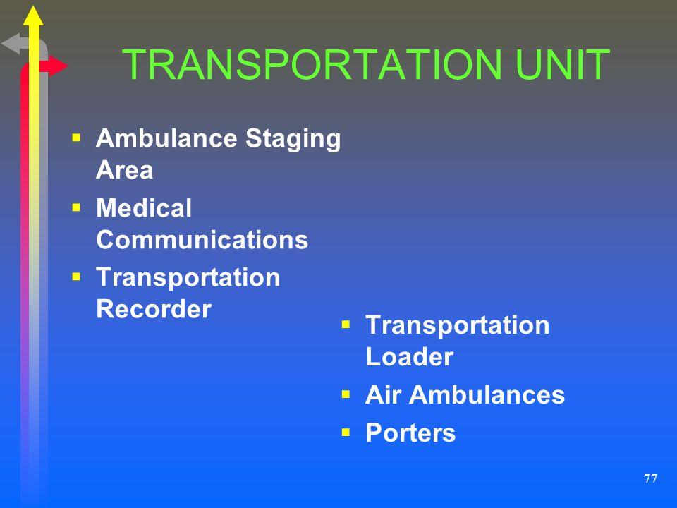 77 TRANSPORTATION UNIT Ambulance Staging Area Medical Communications Transportation Recorder Transportation Loader Air Ambulances Porters