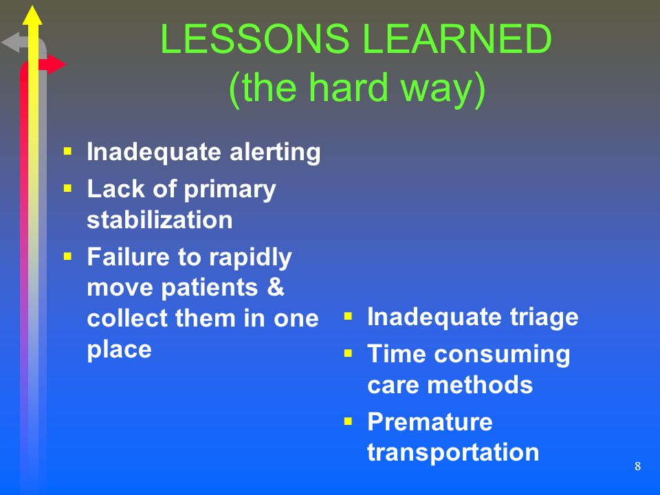 8 LESSONS LEARNED (the hard way) Inadequate alerting Lack of primary stabilization Failure to rapidly move patients & collect them in one place Inadeq