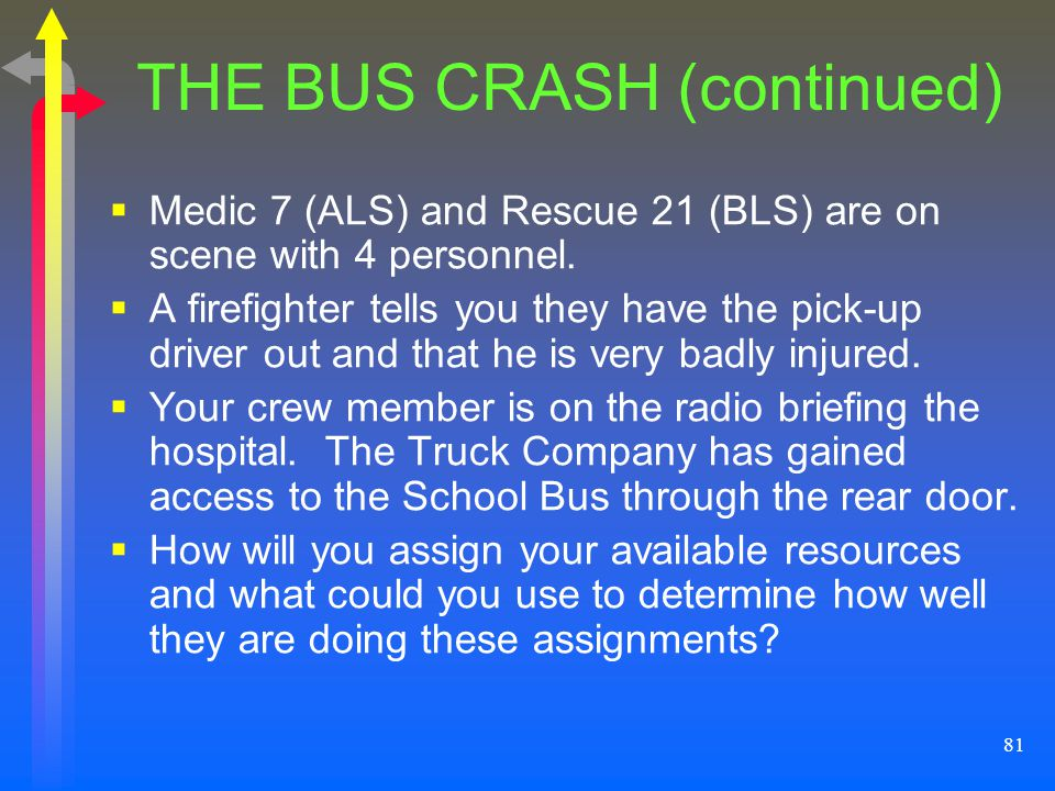 81 THE BUS CRASH (continued) Medic 7 (ALS) and Rescue 21 (BLS) are on scene with 4 personnel. A firefighter tells you they have the pick-up driver out