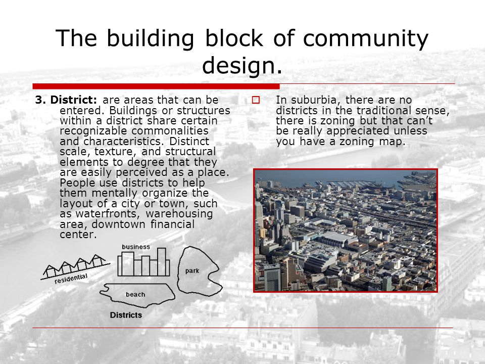 The building block of community design. 3. District: are areas that can be entered. Buildings or structures within a district share certain recognizab