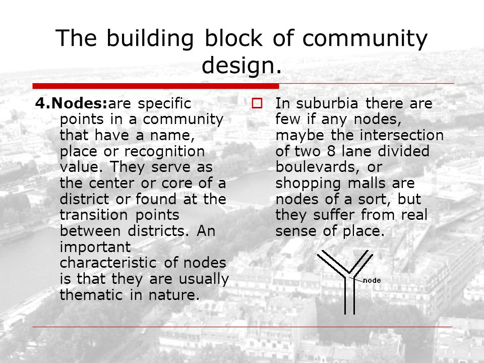 The building block of community design. 4.Nodes:are specific points in a community that have a name, place or recognition value. They serve as the cen