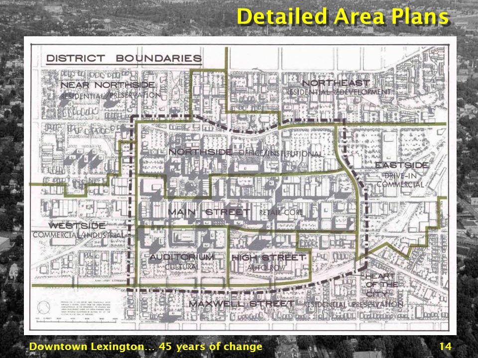 Downtown Lexington… 45 years of change13 Proposed Street Plan Expressway SecondSecond BroadwayBroadway RoseRose Downtown Expressway Second Street Park
