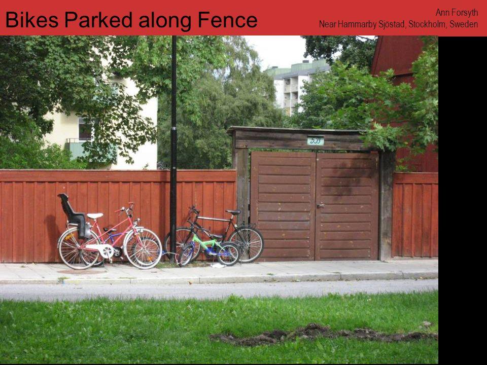 www.annforsyth.net Bikes Parked along Fence Ann Forsyth Near Hammarby Sjöstad, Stockholm, Sweden