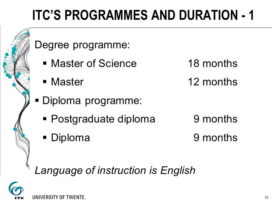 Degree programme: Master of Science18 months Master 12 months Diploma programme: Postgraduate diploma 9 months Diploma 9 months Language of instructio