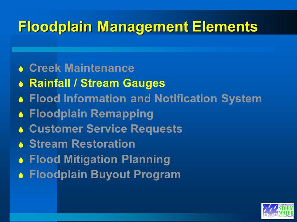 Floodplain Management Elements Creek Maintenance Rainfall / Stream Gauges Flood Information and Notification System Floodplain Remapping Customer Serv