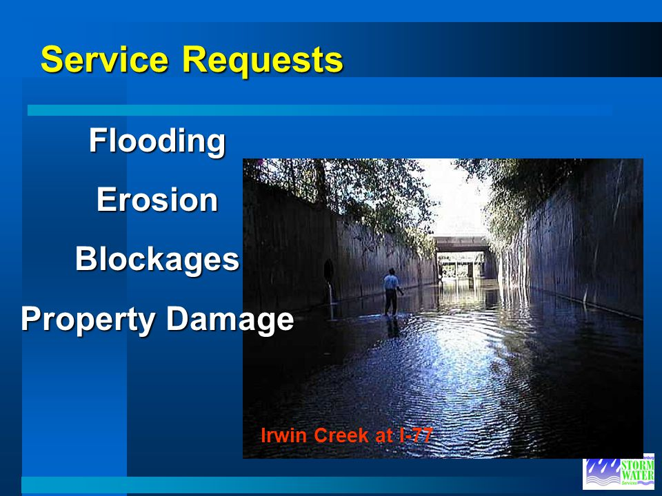 Service Requests Irwin Creek at I-77 FloodingErosionBlockages Property Damage