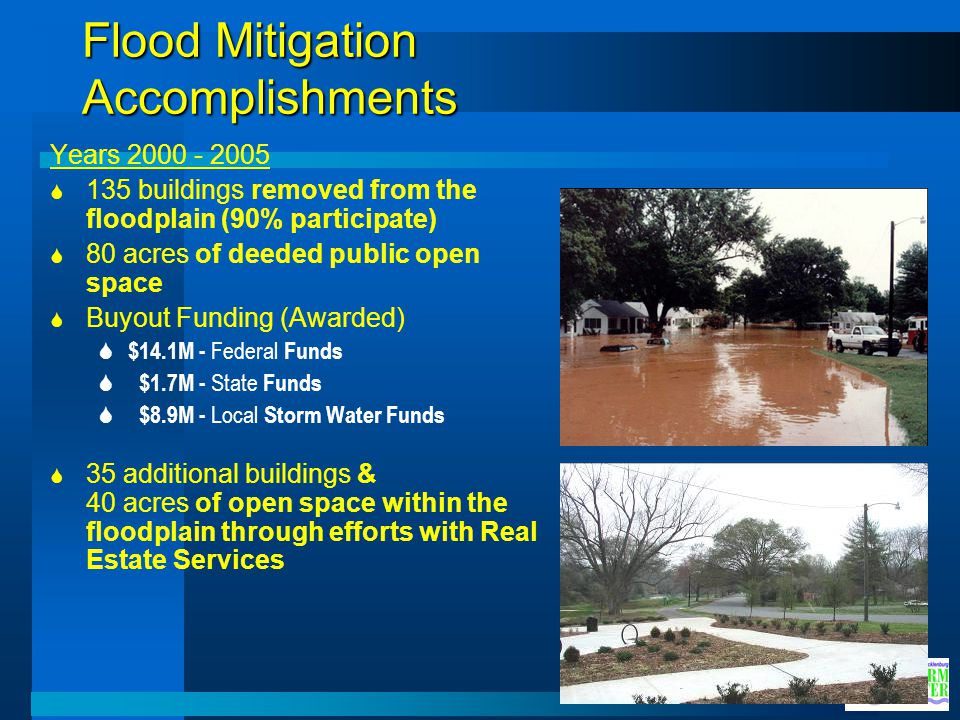 Flood Mitigation Accomplishments Years 2000 - 2005 135 buildings removed from the floodplain (90% participate) 80 acres of deeded public open space Bu